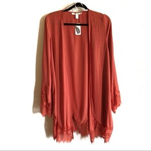 Foreve 21 lace cardigan kimono, lobster bisque, S